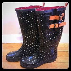 Henry Ferrera Black Polka Dot Rain Boots